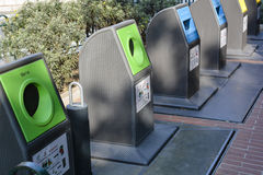Exploring the Principality of Monaco. MONTE CARLO, MONACO - MARCH 12: Limited space has led to a very elegant solution for recycling, the receptacles sit on top Royalty Free Stock Photography
