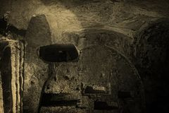 The Ruins of St. Paul`s Catacombs in Malta stock image