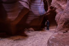 Exploring slot canyons Stock Photo