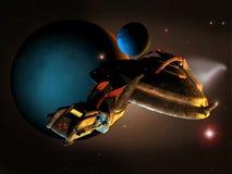 Exploring  space. A spaceship sails into space, near several planets Stock Photos