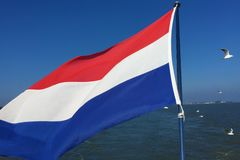 Charming cites of North Holland - leaving Volendam by boat stock photos