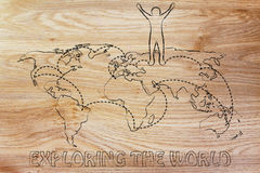 Exploring the world: happy man on map with visited places Stock Images
