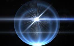 Explosão abstrata do sol com luz digital do alargamento da lente sobre o fundo preto Imagem abstrata do alargamento da iluminação ilustração royalty free