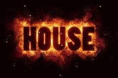 A explosão ardente do texto da queimadura das chamas do fogo da música da casa explode Imagem de Stock