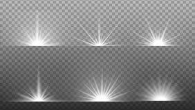 Explosão clara de incandescência branca no fundo transparente ilustração royalty free
