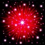 Explosão colorida abstrata dos fogos-de-artifício no fundo escuro Ilustração ilustração stock