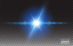 Explosão com a estrela mágica de Sun dos sparkles em elementos realísticos transparentes de um projeto do efeito da luz do fundo  Foto de Stock Royalty Free