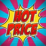 Explosão da bandeira da banda desenhada com preço quente do texto Projeto para seu pop art do inseto da bandeira Imagens de Stock Royalty Free