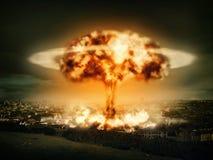 Explosão da bomba nuclear Fotos de Stock Royalty Free