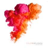 Explosão da cor Tinta acrílica colorida na água imagem de stock