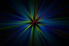 Explosão da luz colorida em um fundo preto Imagens de Stock