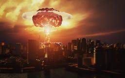 Explosão de bomba atômica no deserto ilustração stock