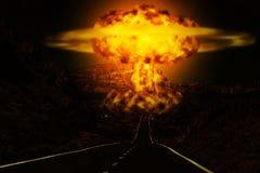 Explosão de bomba atômica no deserto fotos de stock royalty free