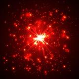 Explosão de poeira vermelha do vetor no fundo preto ilustração royalty free