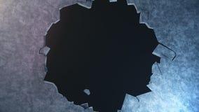 A explosão destrói a parede, muro de cimento quebrado Fragmentos da mosca do muro de cimento às partes Buraco de bala na parede ilustração stock