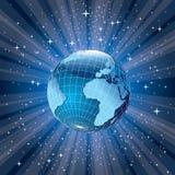 Explosão do azul do globo ilustração do vetor