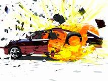 EXPLOSÃO do CARRO Foto de Stock