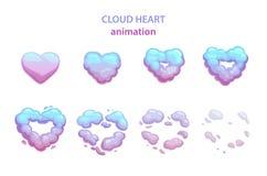 Explosão do coração da nuvem dos desenhos animados ilustração stock