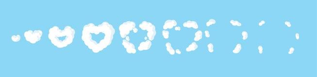 Explosão do coração da nuvem dos desenhos animados Animação do fumo Animação para o jogo ou os desenhos animados ilustração stock