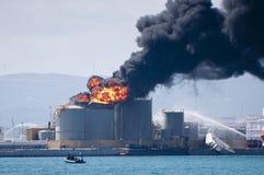 Explosão do depósito de gasolina de Gibraltar Fotos de Stock Royalty Free