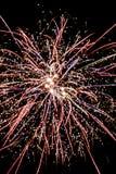 Explosão do fogo de artifício na perspectiva do céu noturno as linhas e as faíscas Multi-coloridas são visíveis foto de stock