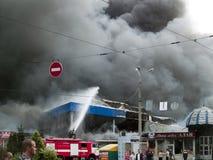 Explosão do mercado de Slavyansky em Dnipropetrovsk Imagens de Stock