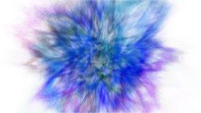 Explosão do movimento do gelo do pó e da pintura azuis, roxos e cianos para Holi fotos de stock