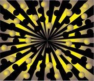 Explosão do ouro das esferas mas de um fundo preto Ilustração Royalty Free
