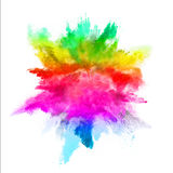 Explosão do pó colorido no fundo branco Imagem de Stock
