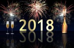 Explosão dos fogos-de-artifício e do champanhe do ano novo feliz 2018 Imagem de Stock Royalty Free