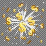 Explosão dourada do alargamento da lente do feixe luminoso de sinal de dólar ilustração royalty free