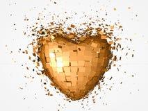 Explosão dourada do coração Fotos de Stock Royalty Free