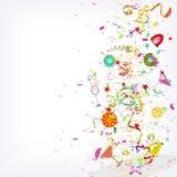 Explosão festiva, cocktail de fruto e confetes Imagem de Stock