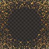Explosão festiva dos confetes Fundo do brilho do ouro Pontos dourados Às bolinhas da ilustração do vetor Imagem de Stock
