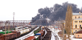Explosão na estação de comboio Fotos de Stock