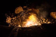 Explosão no campo de batalha Fotos de Stock