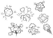 Explosões cômicas e nuvens Fotografia de Stock Royalty Free