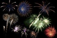 Explosões coloridas do fogo-de-artifício Imagem de Stock Royalty Free