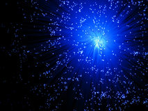 Explosión óptica azul de fibra Foto de archivo libre de regalías