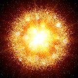 Explosión abstracta con los elementos que brillan del oro Fotos de archivo