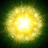 Explosión abstracta con los elementos que brillan del oro Explosión de la estrella que brilla intensamente Fotos de archivo libres de regalías