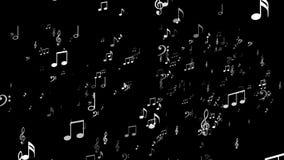 Explosión al azar de la nota de la música, animación, representación, fondo, lazo stock de ilustración