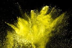 Explosión amarilla abstracta del polvo fotografía de archivo libre de regalías