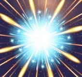 Explosión anaranjada azul del resplandor del fondo de los fuegos artificiales Imagen de archivo libre de regalías
