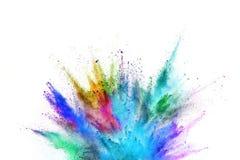 Explosión coloreada del polvo en el fondo blanco Fotografía de archivo libre de regalías