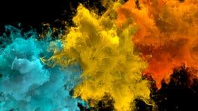 Explosión de color amarillo-naranja ciánica - alfa flúida de las explosiones coloridas múltiples del humo libre illustration