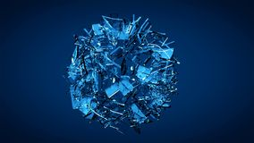 Explosión de cristal transparente rota azul Imagen de archivo