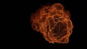 Explosión de la bola de fuego, cámara de alta velocidad, llama aislada del fuego en fondo negro ilustración del vector