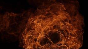 Explosión de la bola de fuego, cámara de alta velocidad, llama aislada del fuego en fondo negro stock de ilustración
