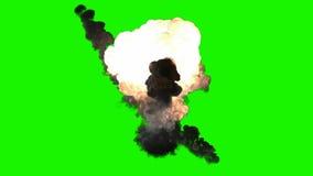 Explosión de la bomba de Chromakey con humo ilustración del vector